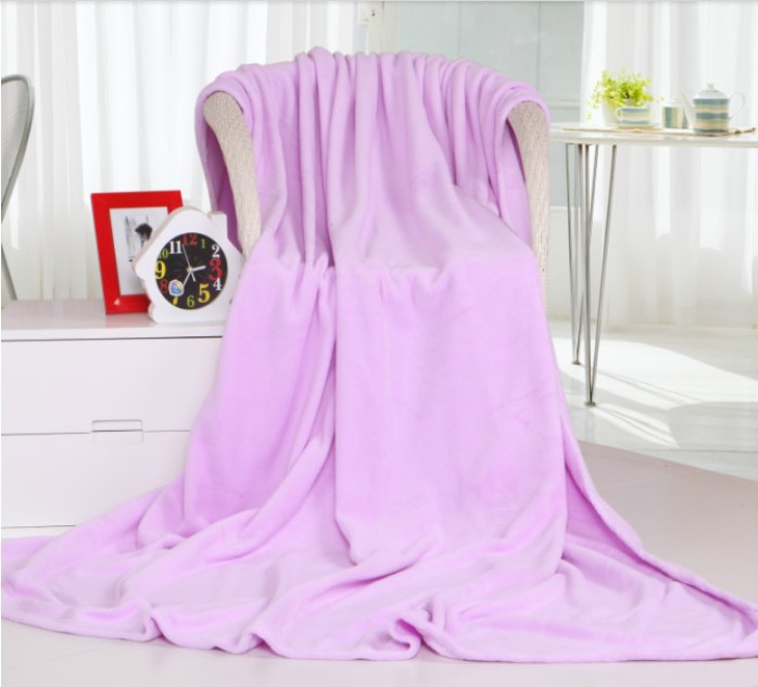 Free Shipping Top Quality Soft Lilac Pure Color Warm Flannel Fleece Blanket Bed Throw Air Conditioner Quilt Hotel/Travel Blanket(China (Mainland))