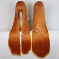 Discount Price Cosplay wig 100cm gold orange long straight hair free shipping