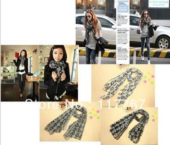 Fashion New Womens Girls Skull Head Skeleton Soft Long Thin Cotton Shawl Scarf  Wrap Stole Free Shipping 650528-650530