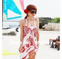 Free Shipping New Fashion Sexy Pareo Dress Sheer Sarong Beach Bikini Wrap Swimwear Cover Up Scarf  Y41