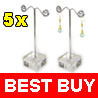 5 Crystal Metal Earring Holder Jewelry Display Stands