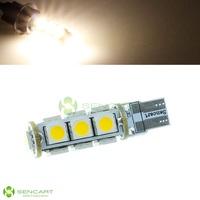 T10 W5W 194 168 2.6W 3500K 182lm 13-SMD 5050 LED Warm White Light Side Mark Decoration Lamps DC 12V
