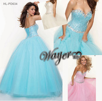 HL-PD634 Gorgeous Strapless Sweetheart Stunning Crystal Beaded Ball Gown Princess Prom Dresses