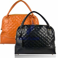 Free Shipping New Style Women's Rhombus Plaid Handbag Lady's Tote Bag Purse Rivet Decor 9064