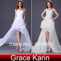 2014 Free Shipping New Hot Selling GK Sexy Stock Floor Length Deep V Lace + Satin Bridal Wedding Dress 8 Size CL3850