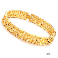 Men Gold Jewellery Mens Fashion Bracelet Bling Jewelry Star 11mm 18KGP Gold Link Men Bracelete Gold Colored Alloy Chain 7.87""