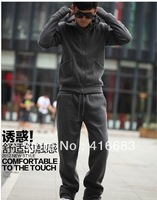 Free Shipping! Men's Hooded Sports Suite Men's Thickened Cotton Sportswear, Coats+Pants