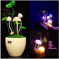7 Color Body induction light response LED spot mushroom light lamp free shipping