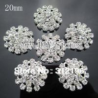 Free Shipping!50pcs/lot 20mm Clear Acrylic Rhinestone Buttons Round Diamante Crystal,Wedding/hair/dress/garment accessory