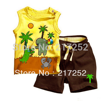 Girl's suits baby Coconut tree suits baby Coco design Sleeveless vest top + shorts
