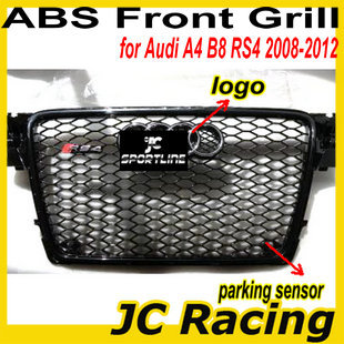 ABS black painted frame RS4 Grille auto car grill for Audi A4 B8 RS4 2008-2012 with parking sensor