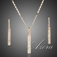 18K Real Gold Plated Stellux Drop Earrings and Pendant Necklace Sets FREE SHIPPING!(Azora TG0007)