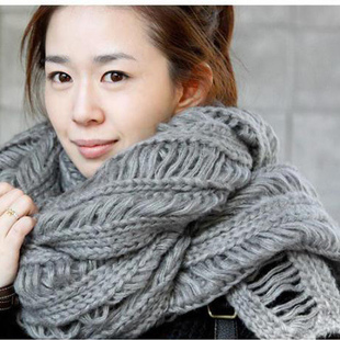 D3 autumn and winter mohair cutout scarf thick yarn thermal personalized muffler scarf