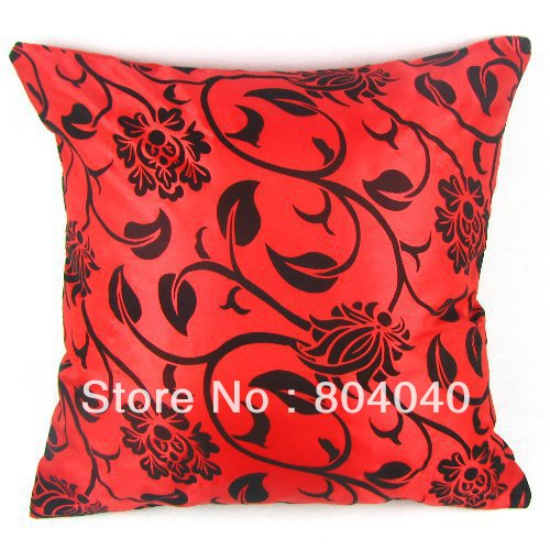 "High Quality Taffeta Flocking Floral Design Red Decor Cushion Cover Throw Pillow Case Square 43cm / 17"" Free P&H Wholesale PF26(China (Mainland))"