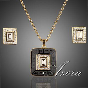 Азора 18 К настоящее позолоченные прямоугольник Stellux кристалл хооп серьги и ожерелье комплект TG0009