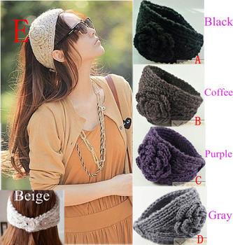 3pcs/Lot Fashion Women Girl Headband Hair band Knit crochet Headwrap 3D Flower