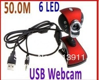 free shipping USB 2.0 50.0M 6 LED PC Camera HD Webcam Camera Web Cam with MIC for Computer PC Laptop without Retail Package