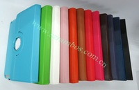 300pcs/lot PU Leather Plastic Case with 360 Degree Rotating Stand Back Cover for iPad 2 3 4