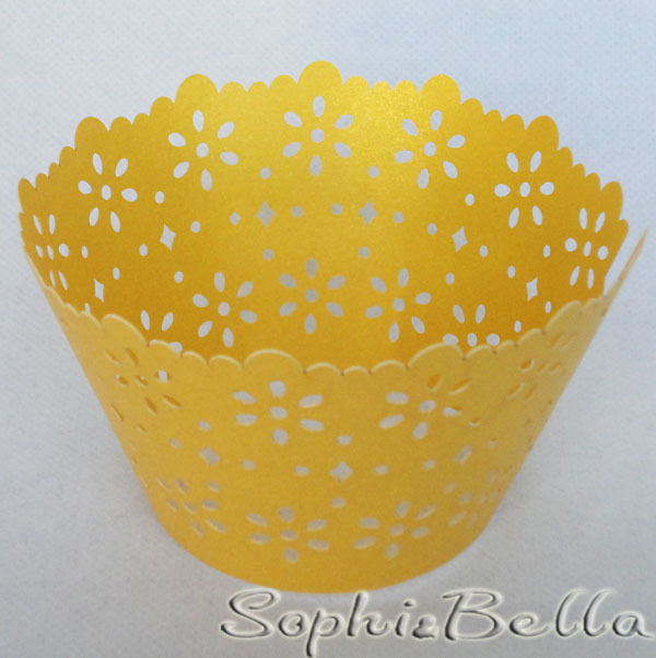 W021Y 60pcs Yellow Floral Lace Cupcake Wrappers Laser Cut baking tools and equipment Free Shipping C(China (Mainland))