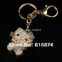 2014 Fashion Jewelry blue Cute Zinc Alloy hello kitty  Rhinestone Car Keychain Gold Plated Bag Buckle Gift Jewelry for women/men