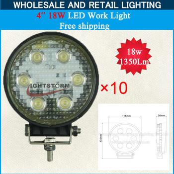 Truck LED Utility Light 4in 9-30 Volt 18 Watt Work Light 10PCS,headlight led work light Free Shipping