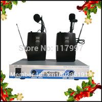 Dual VHF Wireless Mic lapel lavalier Microphone Mic System DJ