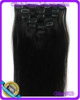 "15"" 18"" 20"" 22"" 24"" 26"" Virgin Remy Hair Clip In Human Hair Extensions 7Pcs/Full Head Set  Color #1B Off black"