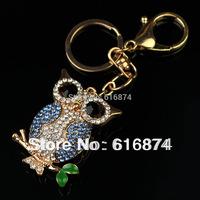 2014 Trendy free shipping full rhinestone cute blue angel/owl keychains 18K Gold Plated zinc alloy chain women men gift