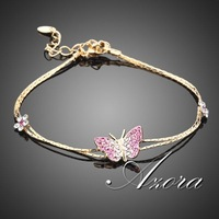 18K Real Gold Plated SWA ELEMENTS Austrian Crystal Butterfly and Flower Charm Bracelet FREE SHIPPING!(Azora TS0008)