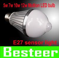 new!! free shipping 5w 7w 10w 12w E27 85-260V LED Infrared Motion Sensor White Light Bulb Lamp motion led bulb