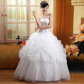 ZN 2012 qi in wedding sweet strap fluffy wedding dress hs-601