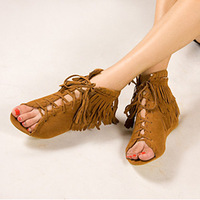 Fashion ladies' open toe tassel lacing flat heel female sandals casual shoes,free shipping,DX1208