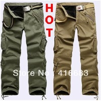 2013 new arrival mens cargo pants, thick for winter, classic straight leg pocket design pants free shipping
