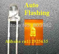 Factory wholesale 3.0-3.5V yellow 3mm single blinking led 1.5KHz IC Automatic flash