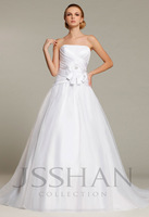 12W039 Strapless Ruched Flower A-Line Organza Bridal Court Train Gorgeous Luxury Unique Brilliant Wedding Dress Wedding Gown