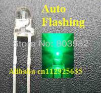Good quality Green single blinking led 1.5KHz 3.0-3.5V IC Automatic flashing 3mm LED