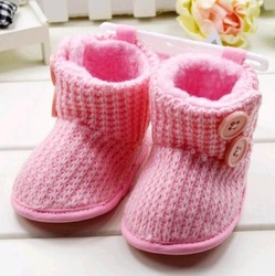 free shipping hot sale baby warmful knitted booties kids/children soft sole toddler padded shoes pink(China (Mainland))
