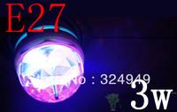 E27 3W Colorful Rotating RGB 3 LED Spot Light Bulb Lamp for Chrismas Party 10pcs/lot Free Shipping of  EMS