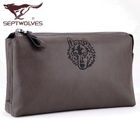 SEPTWOLVES clutch male genuine leather male day clutch bag cowhide man bag genuine leather