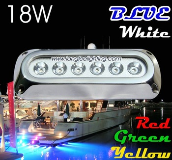 LED Under Water Boat Light, 18W Rectangle Blue Color, Underwater Marine Light