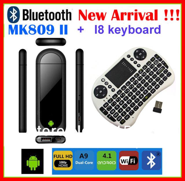 I8 mouse keyboard+ MK809 II Android 4.1 TV Dongle Rockchip RK3066 1.6GHz Dual Core 1G RAM 8GB Bluetooth WiFi Tv Box MK802 IIIS(China (Mainland))
