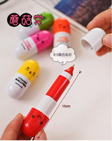 2014 New Year Gift Office supplies Retractable pen/Ball point cartoon Telescopic face Capsule pills Pen wholesale FreeShipping