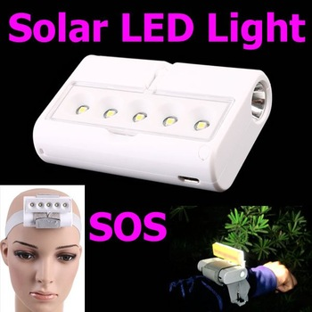 Outdoor Mini Portable Rotatable Solar LED Light Emergency Camping Lamp Flashlight SOS with Retail Packaging, Free Shipping