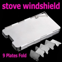 Sliver 9 Plates Fold Outdoor Camping Stove Wind Shield Screen for Camping Picnic Wholesale(China (Mainland))