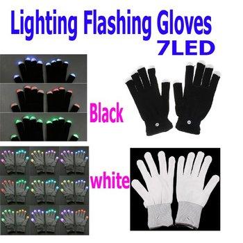 7 Mode LED Rave Light Finger Lighting Flashing Glow Gloves Black 2 Colors Choice, Free Shipping Wholesale