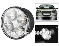 Free shipping + New 2014 Car Styling 4-LED White Light Round Car Lamp (Black)