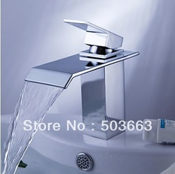 New Design Waterfall Bathroom Basin Mixer Tap Chrome Bath Basin Faucet Sink Faucet Vessel Mixer Brass Tap L-0144(China (Mainland))