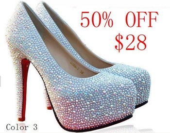 50% OFF 11/14CM Sexy high heel Round Toe wedding crystal red sole PUMPS Rhinestone platforms Daffodil women shoes size 34-41