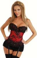 Free Shipping!Sexy Red/Gray Flower Embroidery Burlesque Corset Top  Basque wholesales S M L XL 2XL