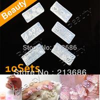 10sets/Lot 6 Style Acrylic Flowers 3D Nail Art Mold DIY Decoration Fashion Free Shipping 954